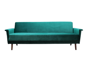 Green velour sofa, Danish design, 1970s