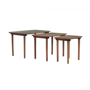 Set of three walnut coffee tables, 1960s, Danish design, manufacture: Denmark