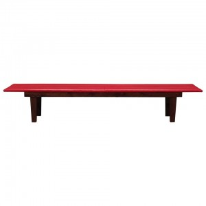 Bench red eco-leather, Danish design, 90's