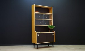 BOOKCASE WITH GLASS DANISH DESIGN MID-CENTURY